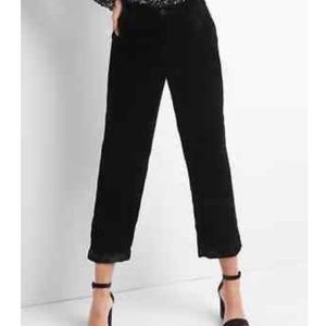 Straight velvet cropped trousers